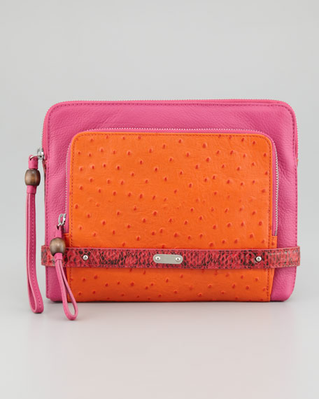 Tina Tech Clutch Bag, Pink/Orange