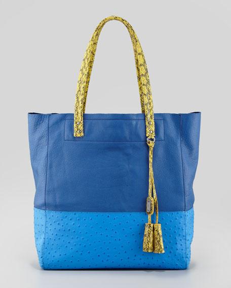 Suze Medium Leather Tote Bag, Blue Multi