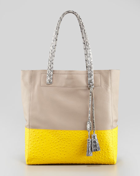 Suze Medium Leather Tote Bag, Yellow/Putty