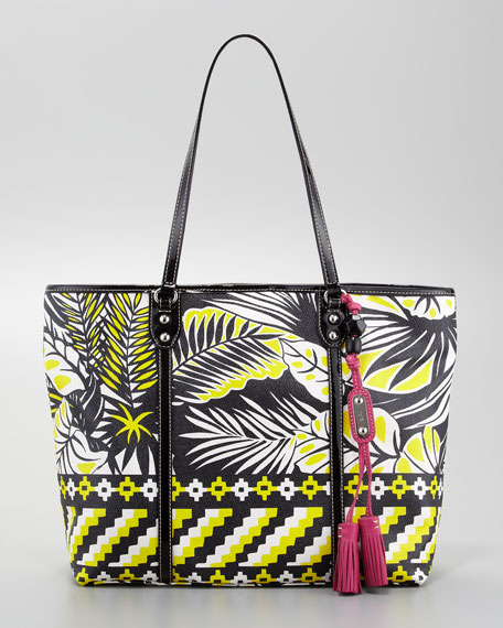 Jesse Tropical Tote Bag, Black/White