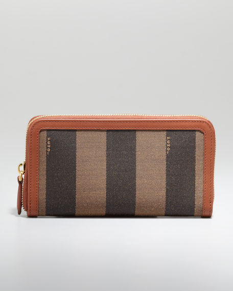 Zip-Around Striped Canvas Wallet