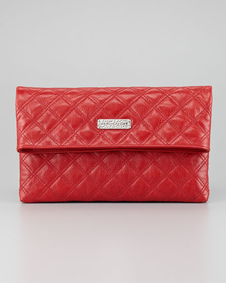 Eugenia Large Quilted Lambskin Clutch Bag, Red