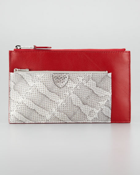 Small Multi-Zip Pouch Clutch, Red