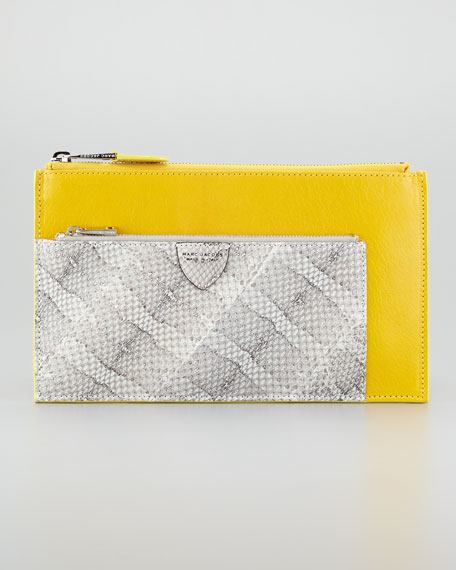 Small Multi-Zip Pouch Clutch, Yellow