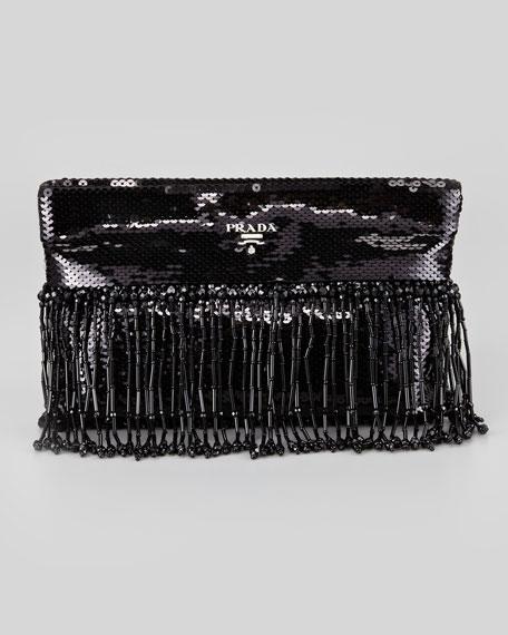 Paillettes Clutch Bag, Black