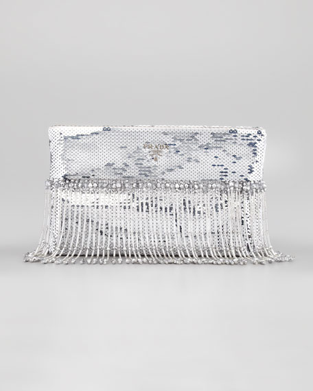 Beaded Paillettes Flat Clutch Bag, Silver