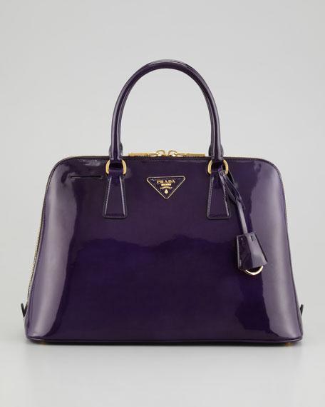 Spazzolato Promenade Lux Handbag, Dark Purple