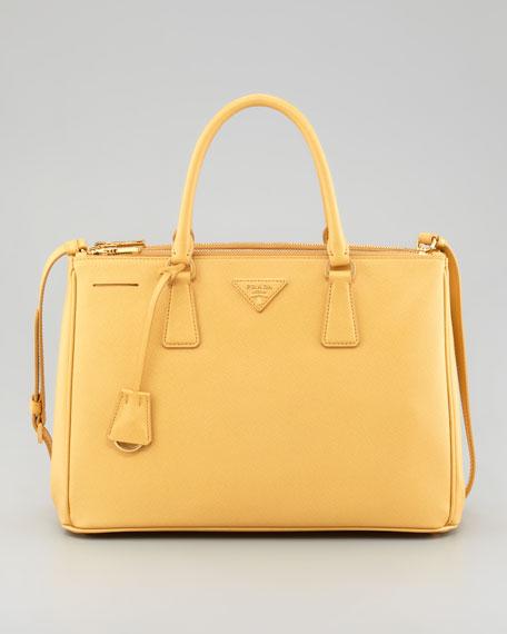 prada nylon tote bag - Prada Saffiano Small Double-Zip Executive Tote Bag, Pale Yellow
