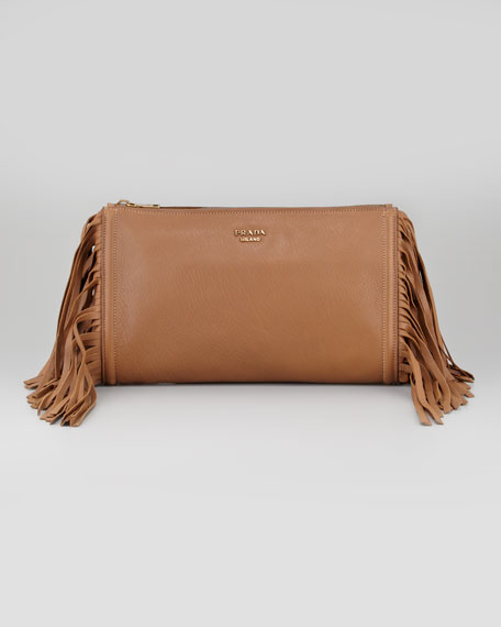 Cervo Fringe Clutch Bag, Dark Camel