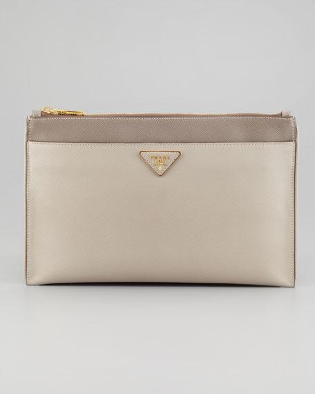 fb0c62fd70d0 ... switzerland prada saffiano lux bicolor zip clutch bag gray 8bdc5 91606