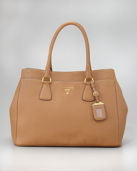 Daino Pocketed Tote Bag, Dark Camel