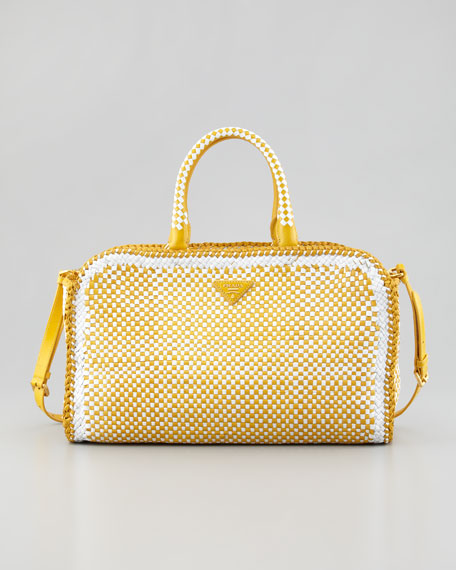 Bi-Color Woven Madras Made-In Tote Bag, Soleil Yellow/White