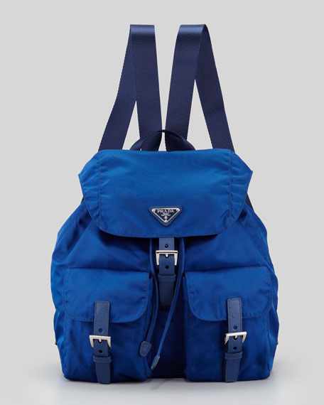 Large Nylon Backpack, Bluette Royal Blue