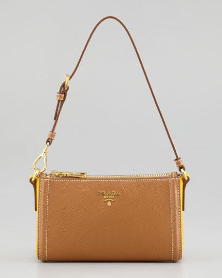 Saffiano Extra Small Bicolor Mini Bag, Caramel/Mimosa