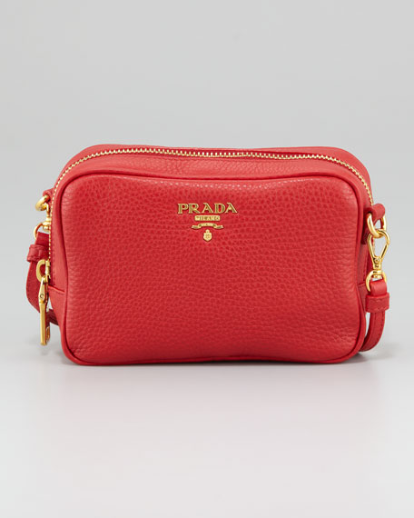 Mini Zip Crossbody Bag, Rosso Red