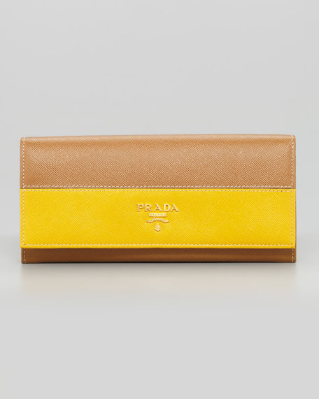 Saffiano Flap Wallet, Camel/Yellow