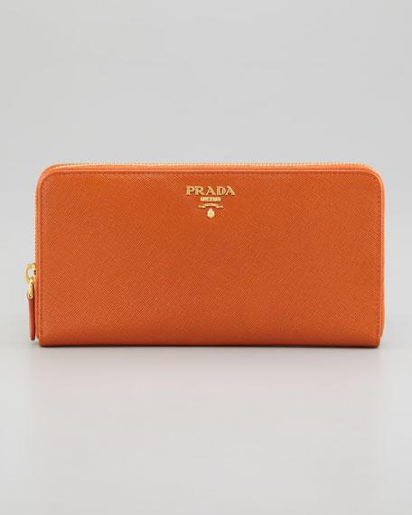 prada continental zip wallet