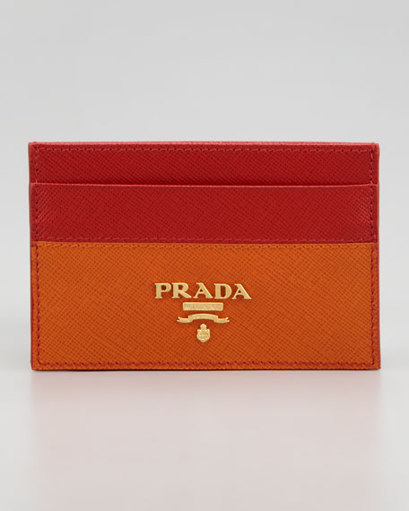 Saffiano Business Card Case, Fuoco/Papaya Red