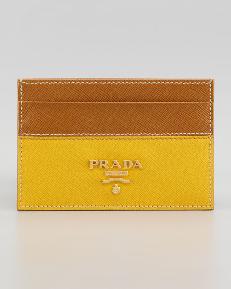Saffiano Business Card Case, Caramel/Miomos