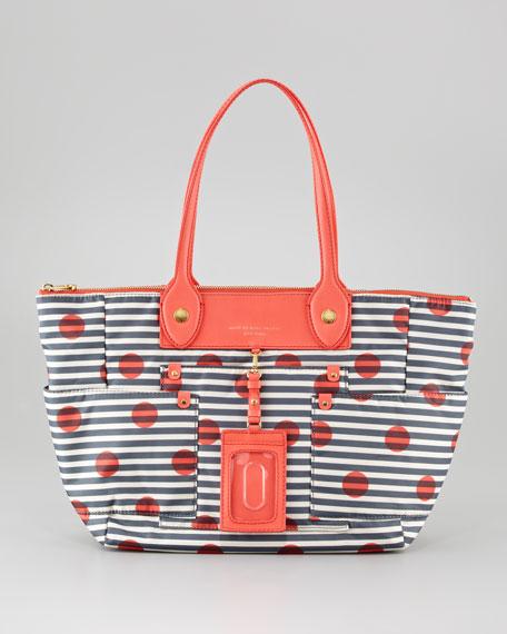 Preppy Nylon East-West Tote Bag, Striped