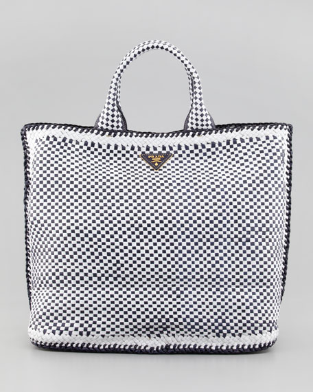Madras Tote Bag, Navy/White