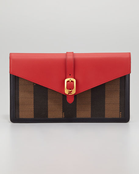 Pequin Small Belted Envelope Clutch Bag, Red/Tobacco
