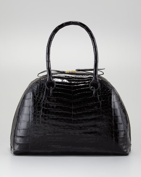 Medium Crocodile Bowler Satchel Bag, Black