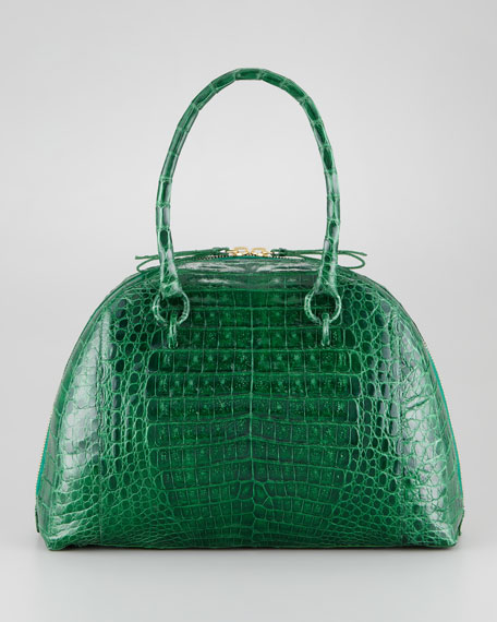 Crocodile Medium Bowler Bag, Emerald