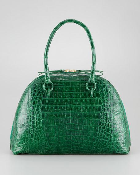 Crocodile Medium Bowler Bag, Emerald