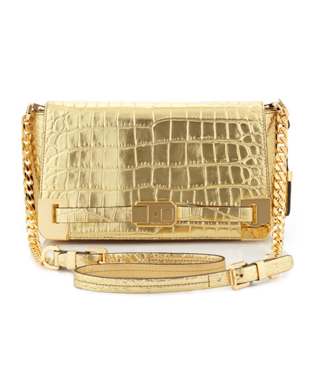 Blake Crocodile-Embossed Clutch