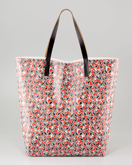 Leaves Large Tote Bag, Red/Multicolor