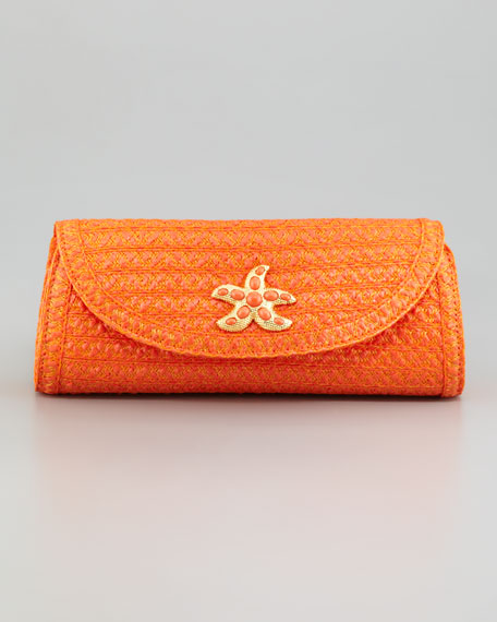 Paradise Woven Clutch, Tangerine