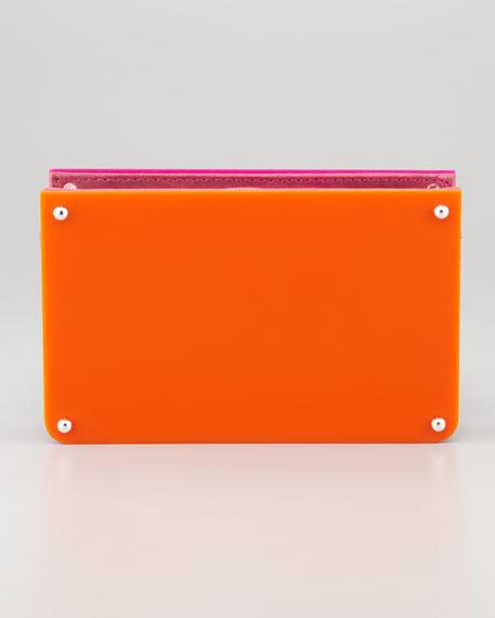 Alexis Frame Clutch, Fuchsia/Orange