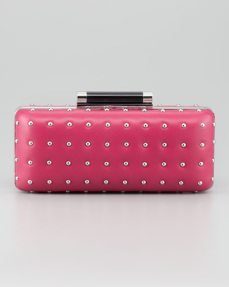 Tonda Studded Leather Clutch Bag, Gardenia