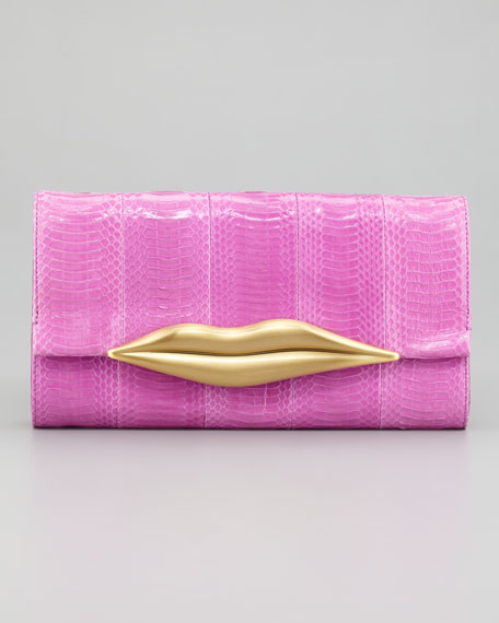 Carolina Lips Snakeskin Clutch Bag, Gardenia