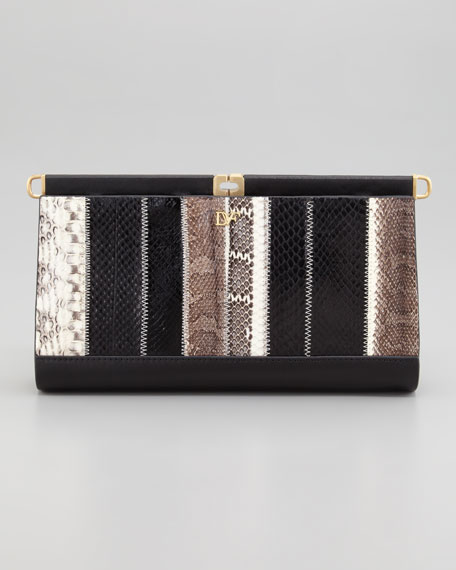 Olivia Patchwork Snakeskin Clutch Bag