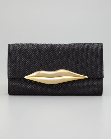 Carolina Lips Raffia Clutch Bag, Black
