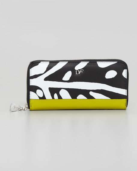 Heart-Charm Continental Zip Wallet, Animal Leaf Print