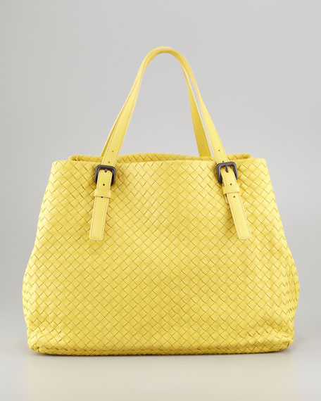 Large Double-Strap A-Shape Tote Bag, Light Yellow