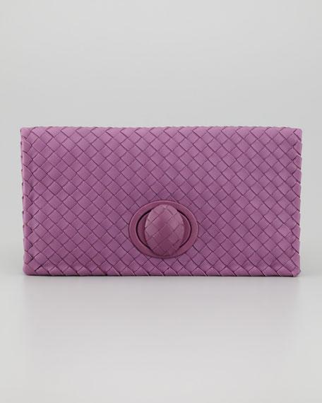 Full-Flap Turnlock Clutch Bag, Purple