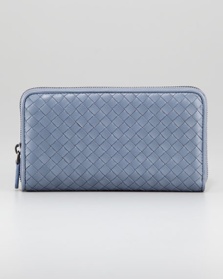 Woven Leather Continental Zip Wallet, Light Blue