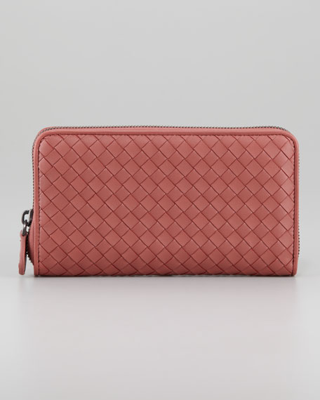 Woven Leather Continental Zip Wallet, Dark Rose
