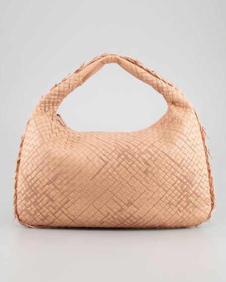 Veneta Large Lambskin Sac Hobo Bag, Camel