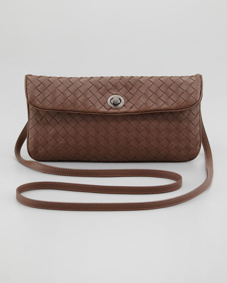 Mini Flap Turn-Lock Crossbody Bag, Dark Brown