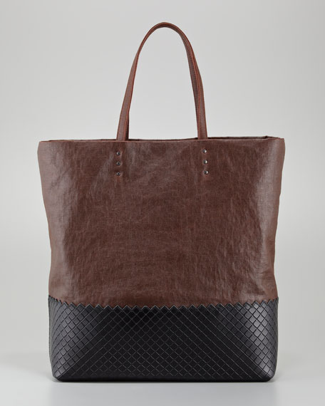 Large Coated Linen and Leather Tote Bag
