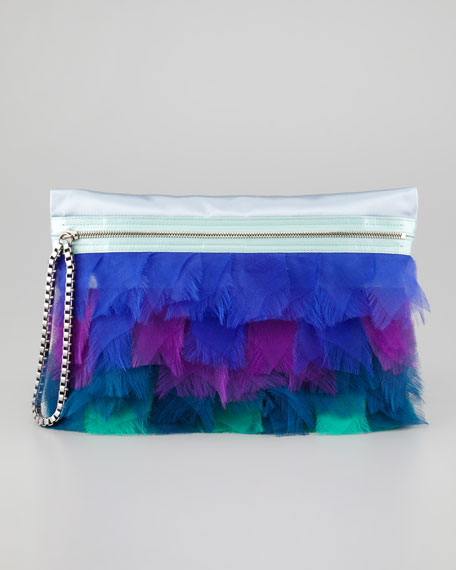 Large Zip Feather Clutch Bag, Light Blue