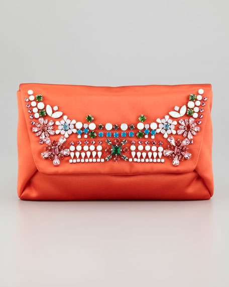 Mai Tai Satin Evening Clutch Bag, Orange