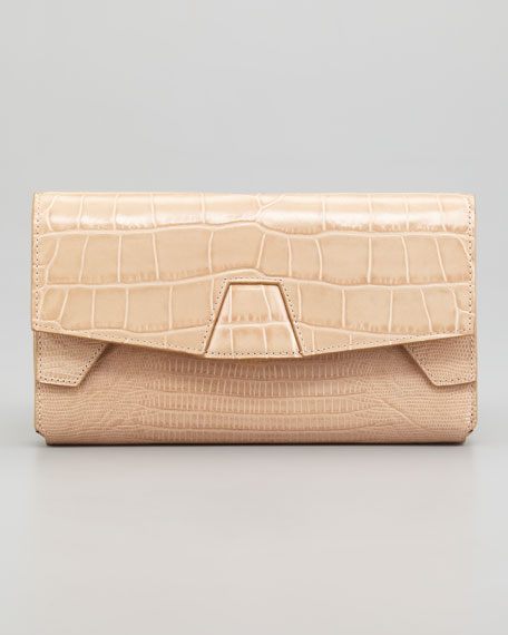 Tri-Fold Clutch Bag, Almond
