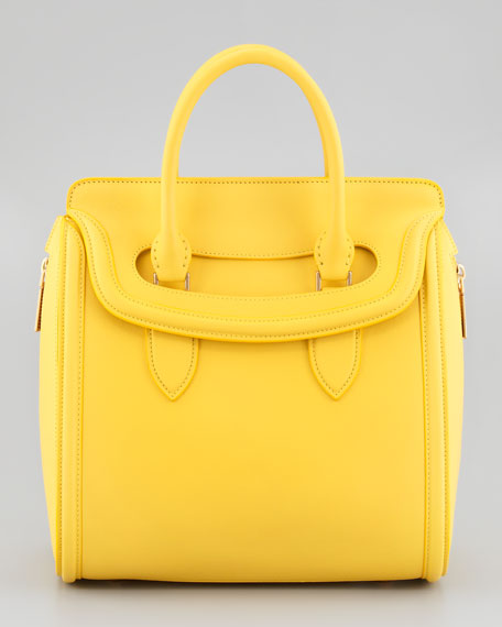 Heroine Medium Leather Satchel Bag, Yellow