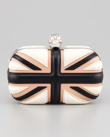 Britannia Skull-Clasp Clutch Bag, Bone/Blush/Black